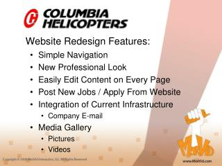 Website Redesign Features: