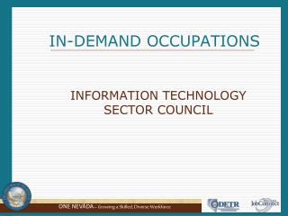 I       IN-DEMAND OCCUPATIONS