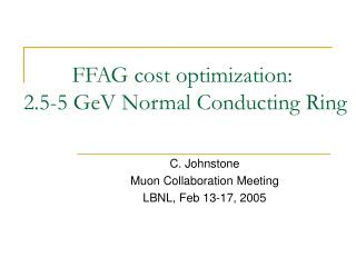 FFAG cost optimization:  2.5-5 GeV Normal Conducting Ring