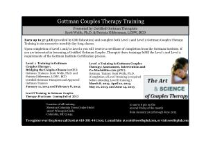 Presented by Certified Gottman Therapists Scott Wolfe, Ph.D. & Patricia Gibberman, LCSW, BCD
