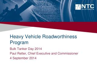 Heavy Vehicle Roadworthiness Program