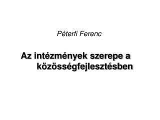P�terfi Ferenc