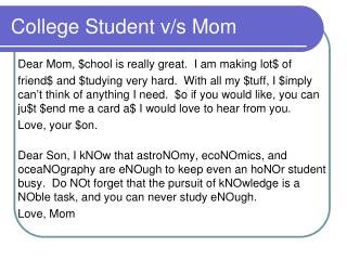 College Student v/s Mom