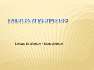 Evolution at Multiple Loci