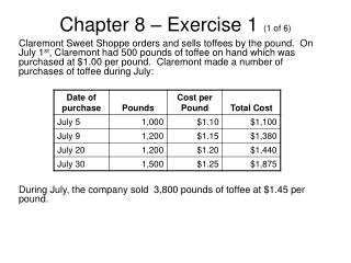 Chapter 8 – Exercise 1  (1 of 6)