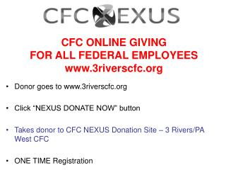 CFC ONLINE GIVING FOR ALL FEDERAL EMPLOYEES 3riverscfc