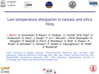 Low temperature dissipation in tantala and silica films
