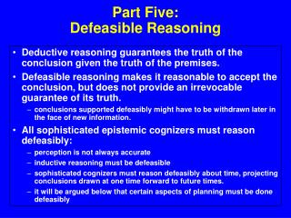 Part Five: Defeasible Reasoning