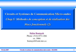 Circuits et Syst mes de Communication Micro-ondes  Chap.5: M thodes de conception et de r alisation des blocs fonctionne
