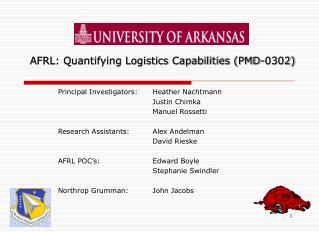 AFRL: Quantifying Logistics Capabilities (PMD-0302)