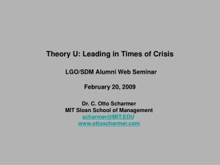 Theory U: Leading in Times of Crisis   LGO