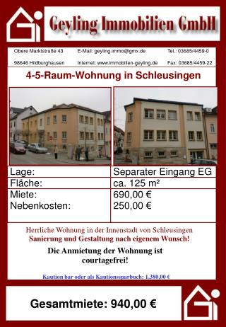 4-5-Raum-Wohnung in Schleusingen