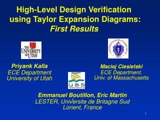 High-Level Design Verification   using Taylor Expansion Diagrams: First Results