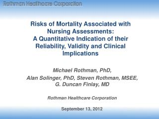 Risks of Mortality Associated with Nursing Assessments: