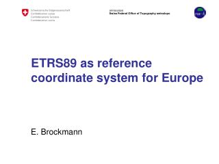 ETRS89 as reference coordinate system for Europe