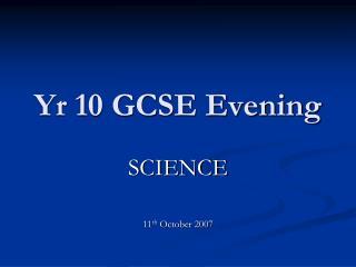 Yr 10 GCSE Evening