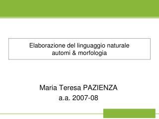 Elaborazione del linguaggio naturale automi  morfologia