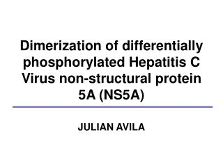 Dimerization of differentially phosphorylated Hepatitis C Virus non-structural protein 5A (NS5A)
