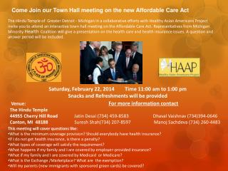 Come Join our Town Hall meeting on the new Affordable Care Act