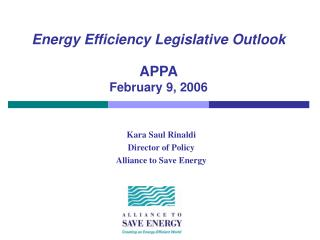 Energy Efficiency Legislative Outlook APPA February 9, 2006