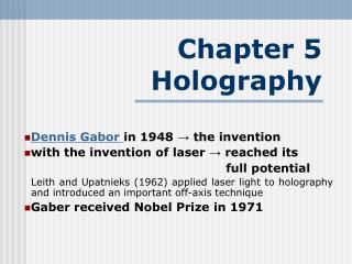 Chapter 5  Holography