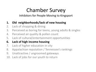 Chamber Survey Inhibitors for People Moving to Kingsport