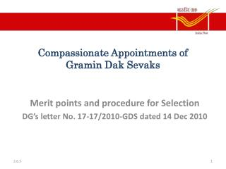 Compassionate Appointments of Gramin Dak Sevaks
