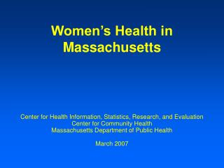 Women's Health in Massachusetts