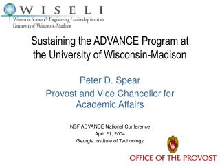 Sustaining the ADVANCE Program at the University of Wisconsin-Madison