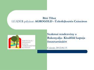 Bíró Tibor LEADER pályázat:  AGROGOLD - Üzletfejlesztés Császáron