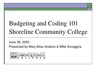 Budgeting and Coding 101 Shoreline Community College
