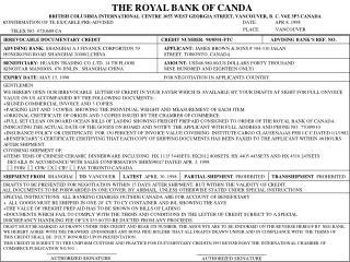 THE ROYAL BANK OF CANDA