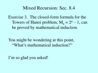 Mixed Recursion: Sec. 8.4