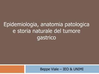 Epidemiologia, anatomia patologica  e storia naturale del tumore gastrico