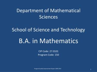 Department of Mathematical Sciences School of Science and Technology
