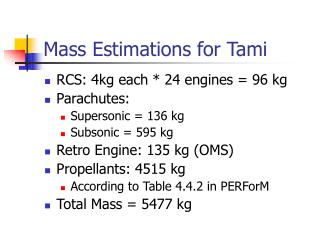 Mass Estimations for Tami