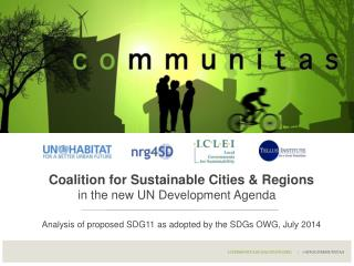 Coalition for Sustainable Cities & Regions in the new UN Development Agenda