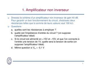 1. Amplificateur non inverseur