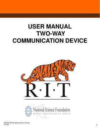USER MANUAL  TWO-WAY COMMUNICATION DEVICE
