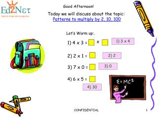 Today we will discuss about the topic: Patterns to multiply by 2, 10, 100
