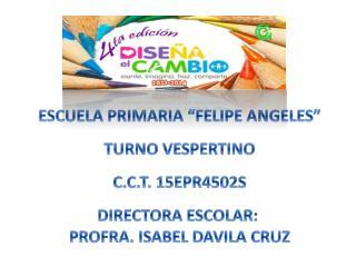 """ESCUELA PRIMARIA """"FELIPE ANGELES"""" TURNO  VESPERTINO C.C.T.  15EPR4502S DIRECTORA ESCOLAR:"""