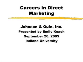 Careers in Direct Marketing