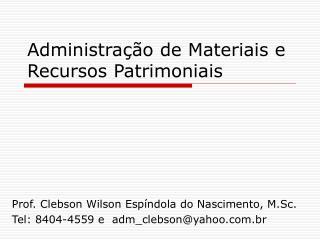 Administração de Materiais e Recursos Patrimoniais