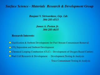 Surface Science - Materials  Research & Development Group