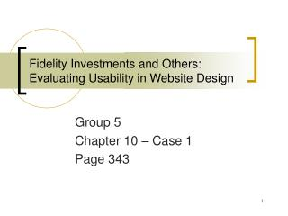 Fidelity Investments and Others: Evaluating Usability in Website Design