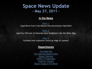 Space News Update - May 27, 2011 -