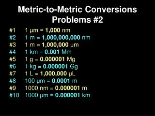 Metric-to-Metric Conversions Problems #2
