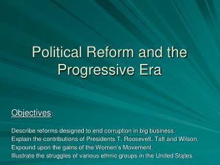 Political Reform and the Progressive Era