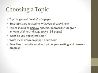 Choosing a Topic