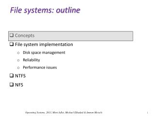 File systems: outline